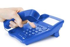 蓝色通信电话 免版税库存图片