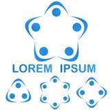 蓝色配合小组商标标志设计集合 向量例证