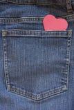 蓝色重点牛仔裤矿穴 库存照片