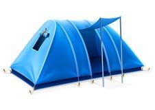 蓝色野营的帐篷游客旅行 免版税库存照片