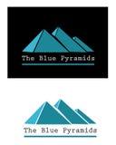 蓝色金字塔标志 库存图片