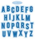 蓝色针字母表 免版税库存图片