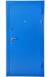 蓝色钢安全门,隔绝在白色背景 库存照片