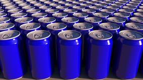 蓝色铝罐行在工厂的 软饮料或啤酒生产 现代回收的包装 3d翻译 向量例证