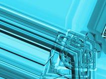蓝色铝背景 金属管子和抽象技术组分 行业概念 图库摄影