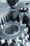 蓝色银灰色和钢齿轮 免版税图库摄影