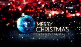蓝色银色圣诞快乐Bokeh美好的3D红色背景 免版税库存照片