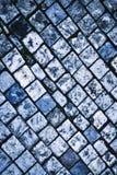 蓝色铺块的色的石头 免版税图库摄影