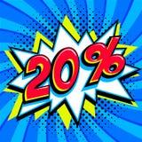蓝色销售网横幅 在漫画流行音乐艺术样式轰隆形状的销售百分之二十20在蓝色扭转的背景 重婚 免版税库存照片