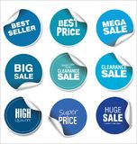 蓝色销售贴纸传染媒介例证收藏 库存照片