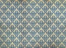蓝色锦缎困厄的老墙纸 库存图片