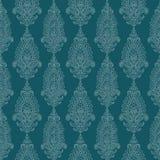 蓝色锦缎绿色佩兹利葡萄酒墙纸 免版税图库摄影