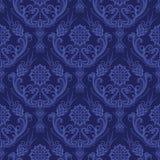 蓝色锦缎花卉豪华墙纸 库存照片
