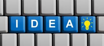 蓝色键盘:在网上想法 向量例证