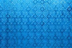 蓝色镜子玻璃窗泰国样式背景纹理 库存照片