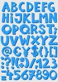 蓝色镶边信件和数字男婴字母表集合 免版税图库摄影