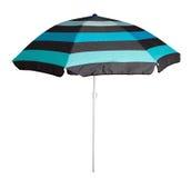 蓝色镶边沙滩伞 库存照片
