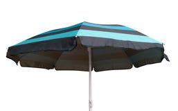 蓝色镶边沙滩伞 免版税图库摄影