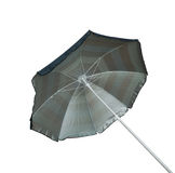 蓝色镶边沙滩伞 免版税库存图片