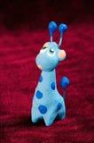 蓝色长颈鹿玩具 免版税库存图片