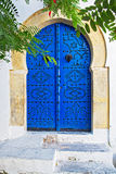 蓝色门在突尼斯 库存照片
