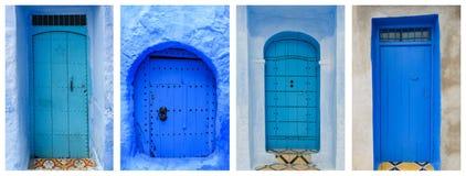 蓝色门拼贴画,摩洛哥 免版税库存照片