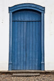 蓝色门老木头 免版税图库摄影