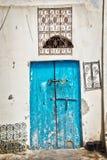 蓝色门,突尼斯 库存照片