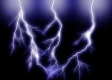 蓝色闪电三倍 免版税库存照片