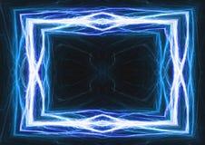 蓝色闪电和电子框架 免版税图库摄影