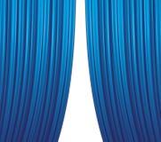 蓝色闭合值的窗帘 免版税图库摄影