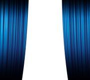 蓝色闭合值的窗帘 库存图片