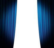 蓝色闭合值的窗帘 免版税库存图片
