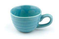 蓝色陶瓷杯子 库存图片