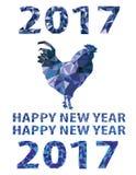 蓝色雄鸡隔绝了多角形2017年的传染媒介标志 免版税库存图片