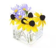 蓝色雏菊和黄金菊在一个玻璃花瓶 库存图片