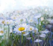蓝色雏菊开花天空黄色 抽象花油画 免版税库存照片
