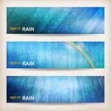 蓝色雨横幅抽象水背景设计 免版税库存照片
