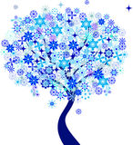 蓝色雪花冬天树例证 库存图片