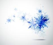 蓝色雪花冬天 库存例证