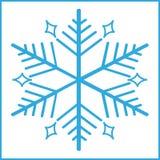 蓝色雪花在白色背景中 图库摄影