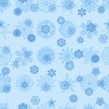 蓝色雪花无缝的例证 免版税库存照片