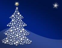 蓝色雪花结构树 库存照片