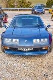 蓝色雷诺高山A310汽车Rallye 库存照片