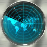 蓝色雷达世界 库存照片