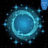 蓝色霓虹魔术发光的光 焕发漩涡作用波浪 皇族释放例证