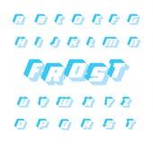 蓝色霜字体,导航几何字母表 3D与阴影的信件 大胆和斜体的方形的印刷术 多维数据集冻结的冰 库存例证