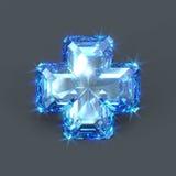 蓝色青玉十字架 库存图片