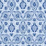 蓝色鞋带无缝的抽象花卉样式葡萄酒背景 免版税库存照片