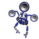 蓝色音乐机器人 免版税库存照片